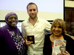 (left to right) Sandra Agard, MC; Rob Lloyd Jones, winning author; Sandra Davidson, Lambeth Public Librarian